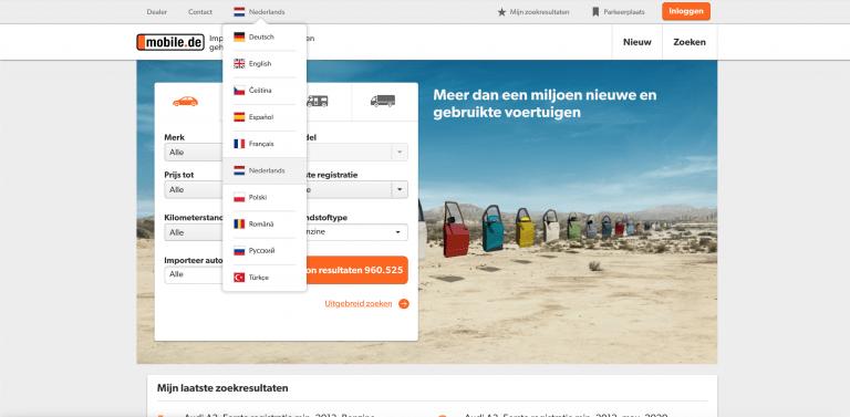 mobile.de-taal-instellen